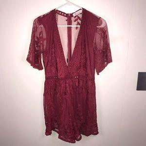 Wicky L's Burgundy Lace Romper